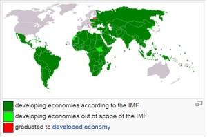 Peta negara berkembang (IMF).