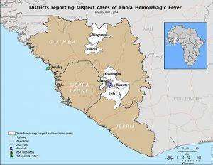 Peta penyebaran virus ebola