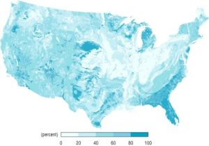 Peta ini menunjukkan distribusi tanah berpasir di seluruh AS. (Photo : http://www.soilinfo.psu.edu/)