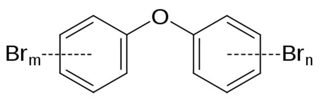 Struktur kimia Polybrominated diphenyl ether (PBDE)