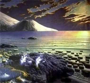 Lanskap bumi pada 2,5 milyar tahun yang lalu. (Credit: From a painting by Peter Sawyer, The Smithsonian Institute; Courtesy of Syracuse University)