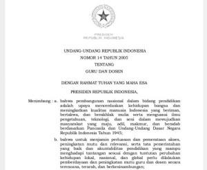 Undang-Undang Nomor 14 Tahun 2005 tentang Guru dan Dosen.